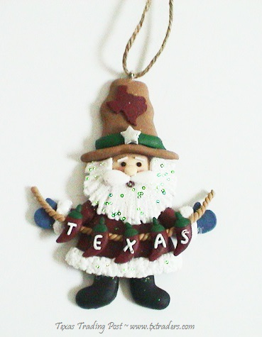 Texas Christmas Ornament - Santa with Texas Banner