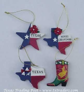 Set of 4 Mini Texas Christmas Ornaments