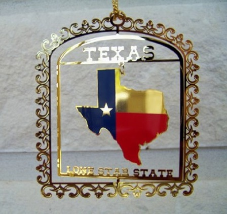 "Spinner Ornament with the State of Texas and  ""Texas"""