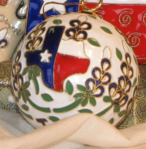 Cloisonne Texas Map and Bluebonnet Ornament