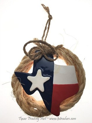Texas Map Ornament with Lariat