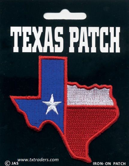Iron-On Texas Shaped Flag Patch