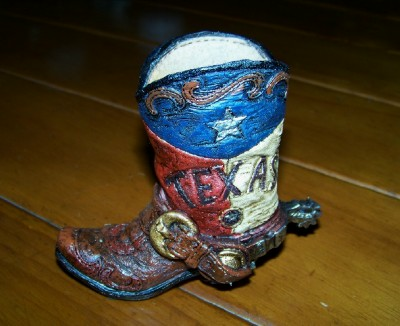 Texas Boot Pen and Pencil Holder - Swirl Top