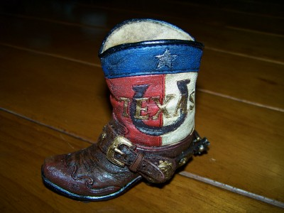 Texas Boot Pen and Pencil Holder - Horseshoe