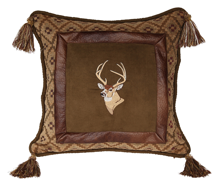 Embroidered Buck - Texas Pillow