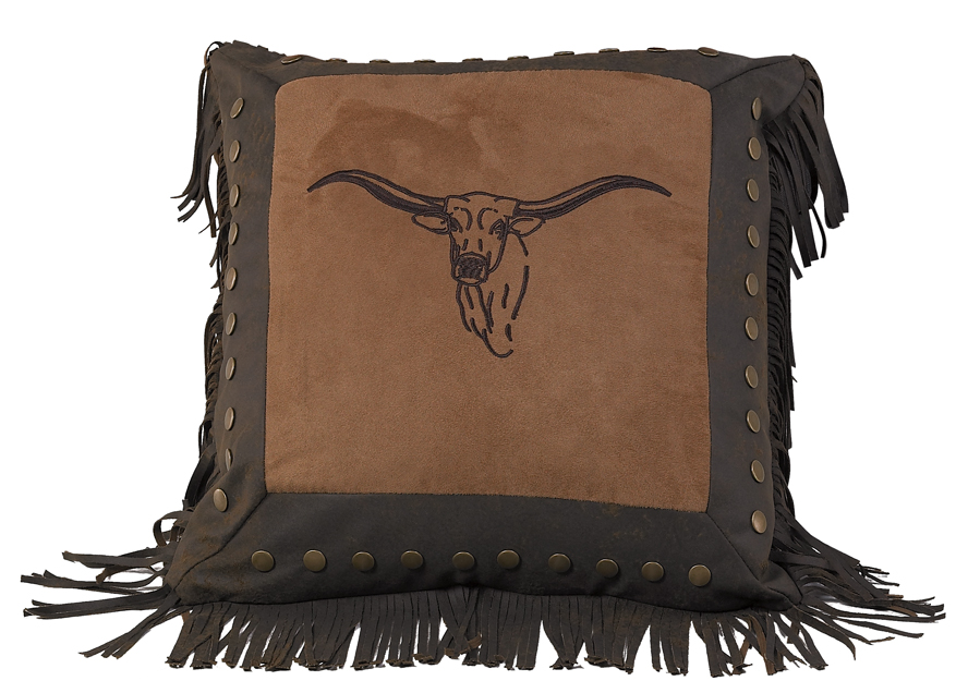 Embroidered Texas Longhorn Pillow