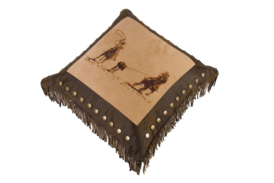 Embroidered Team Roping - Texas Pillow