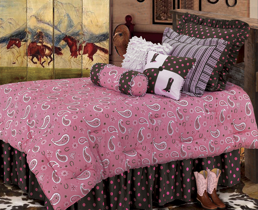 Pink Paisley (Full) Bed Set