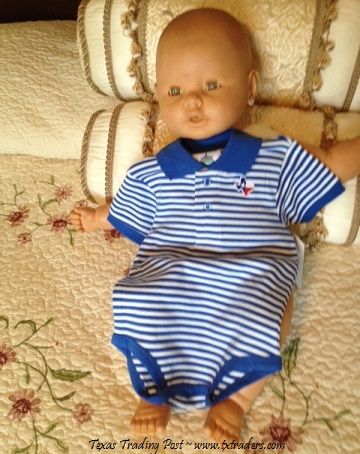Baby Polo One-Piece Set with Embroidered Map of Texas-BW