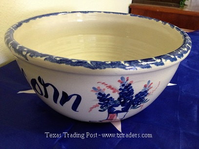 Popcorn Bowl with Bluebonnets and Texas Flag-Made in Texas!