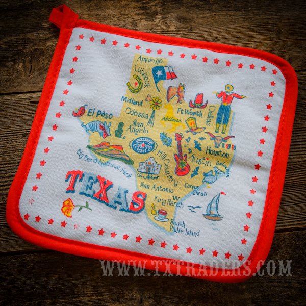 Potholder with Texas Cities