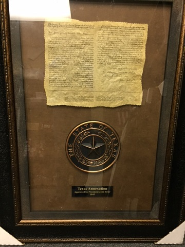 Framed Print - Texas Annexation with Texas State Seal