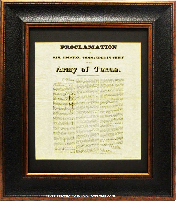 Proclamation of Sam Houston, A Call for Volunteers, December 12, 1835