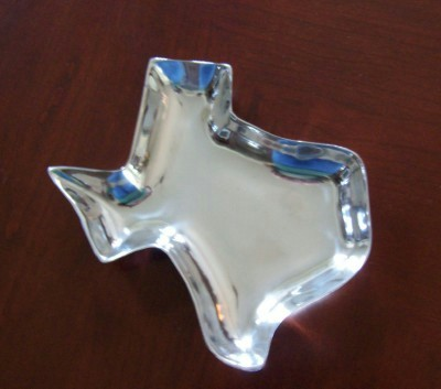 Texas Shaped Pewter Candy or Nut Dish