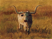 "A Western Print ""Late Light"" with Texas Longhorn"