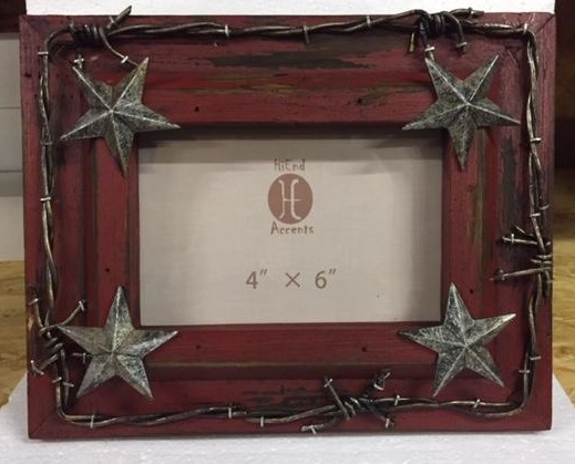 Texas Picture Frame with Barbwire