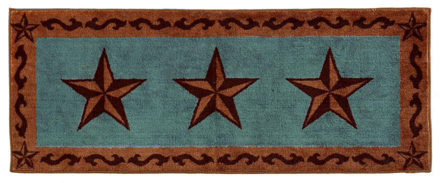 "Texas Lone Star Turquoise Rug - 24"" x 60"""