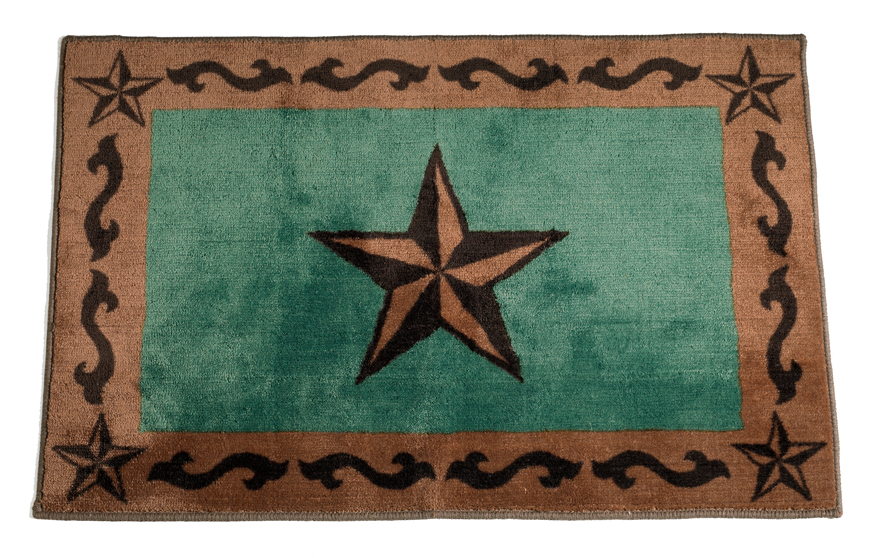 Beautiful Rustic Star Turquoise Rug For Your Texas Decor