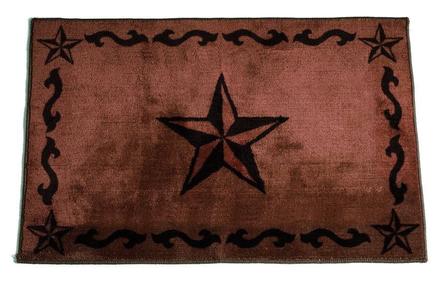 Texas Lone Star Chocolate Rug - 2' x 3'