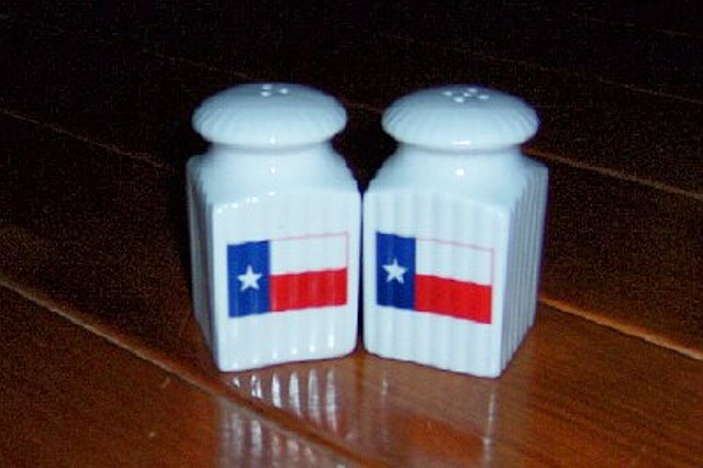 Salt and Pepper Shakers with Texas Flag