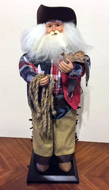 "18"" Texas Christmas Santa with his Lariat and Saddle"