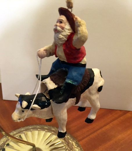 Texas Santa Rounding up the Herd Christmas Tree Ornament