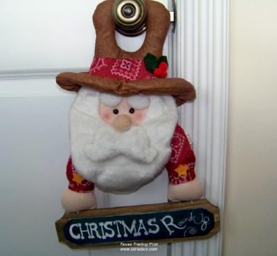 & Cowboy Santa Door Hanger