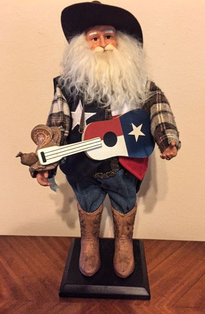 "18"" Texas Christmas Santa with his Texas Guitar"