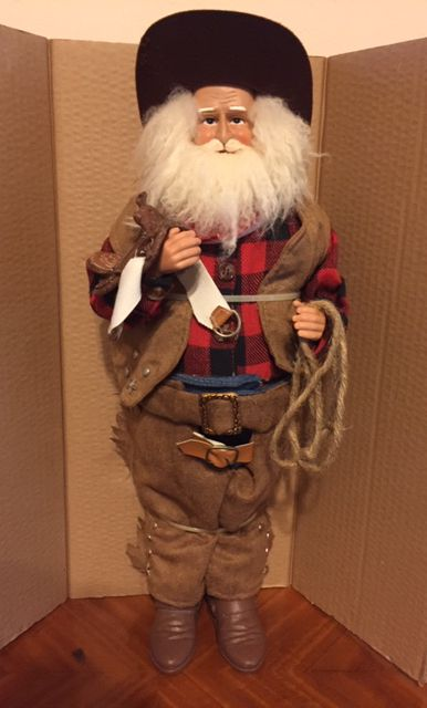 "18"" Texas Christmas Santa with his Saddle and Lariat"