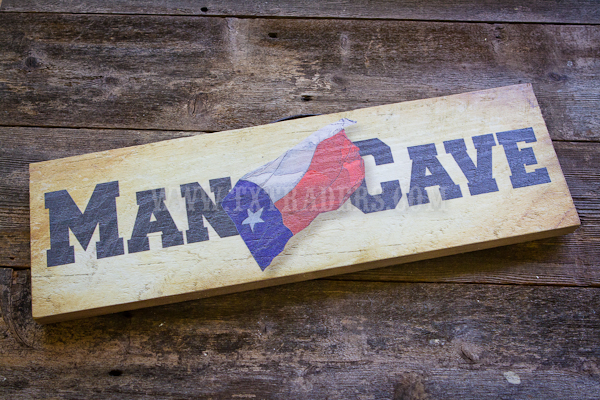 Man Cave with Texas Flag  Barnwood Sign