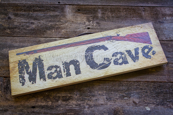 Barnwood Art Large- Man Cave with Rifle