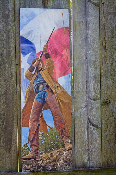 Barnwood Art - Cowboy with Texas Flag