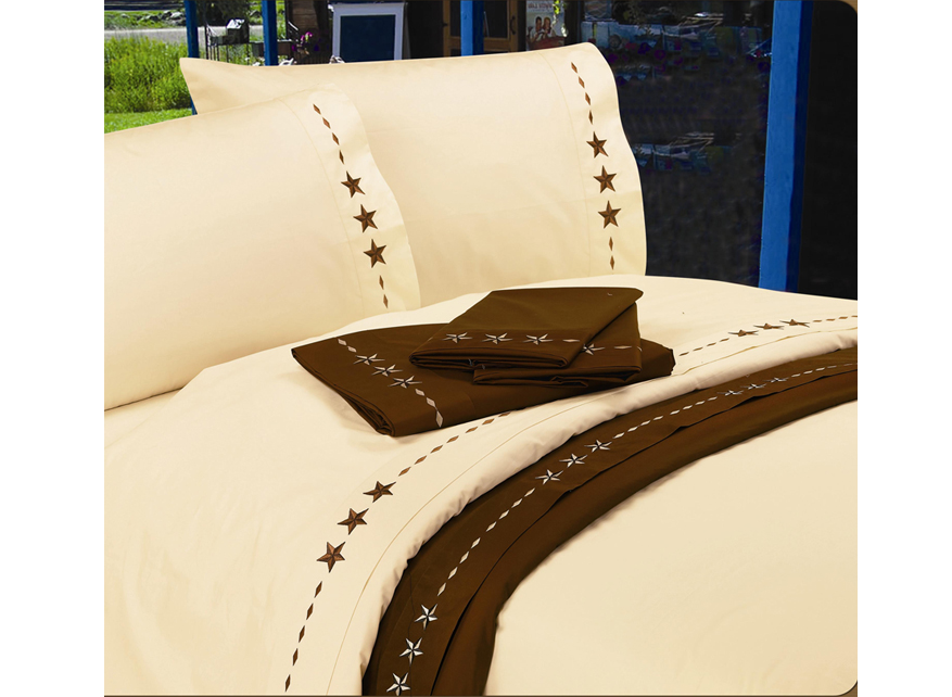 Lone Star Embroidered Texas Sheets Super King