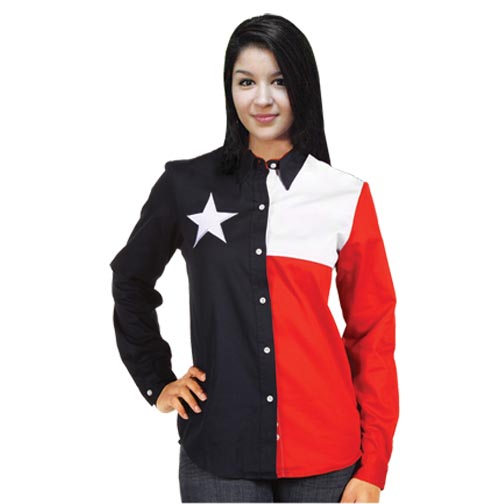 Texas Flag Ladies Long Sleeve Shirt
