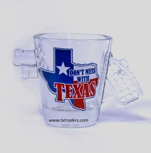 Shot Glass  - Pistol Shaped Texas Map & Don't Mess with Texas
