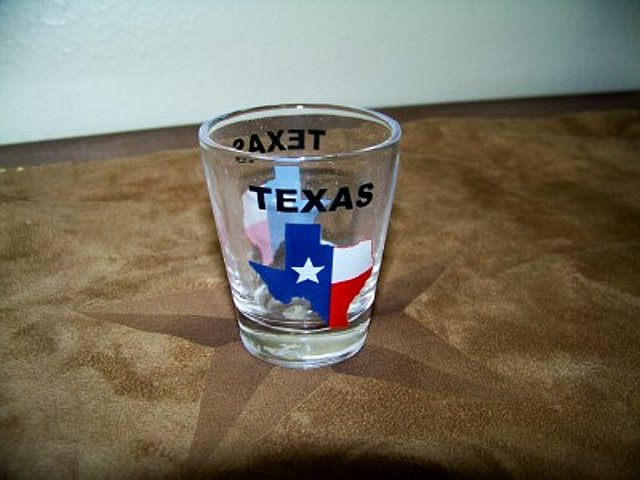 Texas Shot Glass with the State of Texas Map