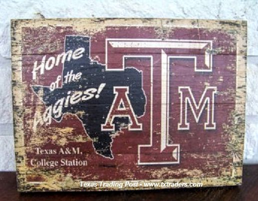 Vintage Texas Sign - Home of the Texas Aggies