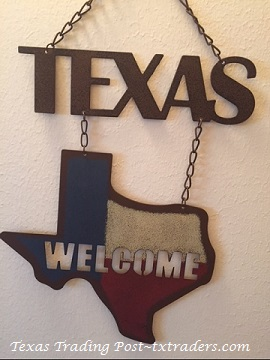 Texas Welcome Sign with the State of Texas