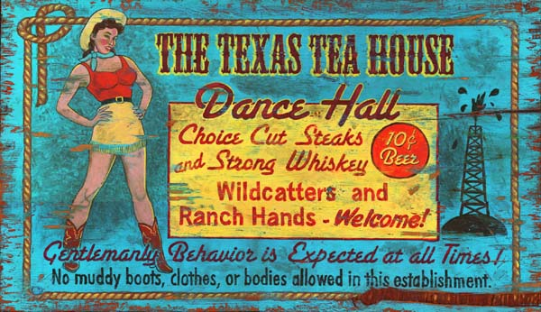 Vintage Texas Sign - Texas Tea House Dance Hall
