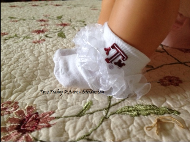 Baby Aggie Socks for your favorite little Aggie-Pageant Lace
