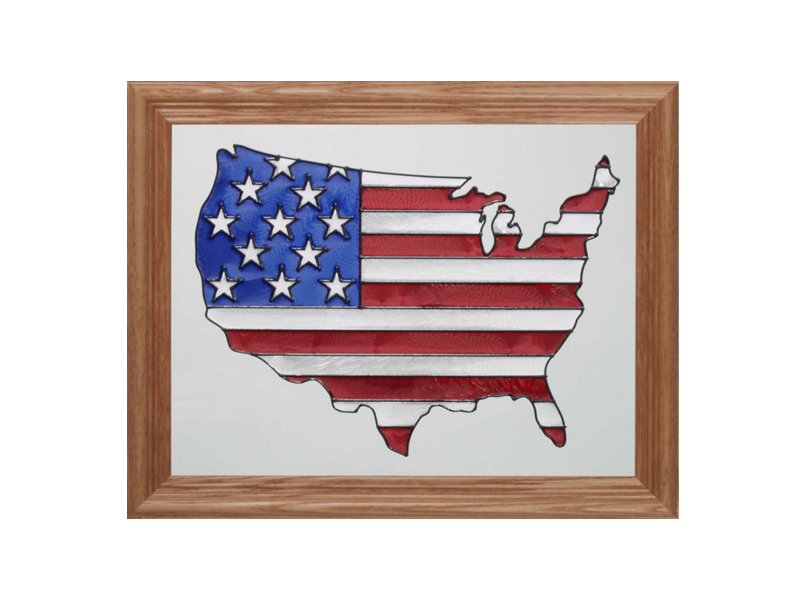 Map of the USA - Hand Painted Glass Art