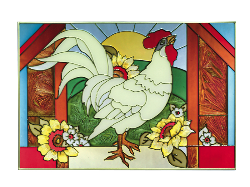 Hand Painted Glass Art with Rooster and Sunflowers