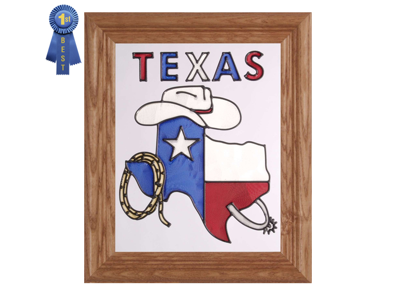 Texas Map, Stetson and Texas Hand Painted Glass Art
