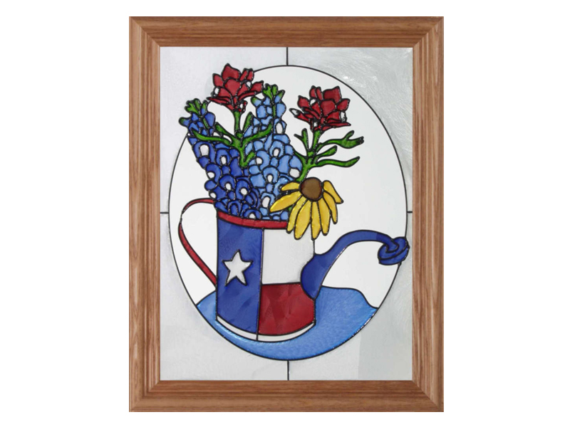 Texas Bluebonnets and Watering Can - Hand Painted Glass Art