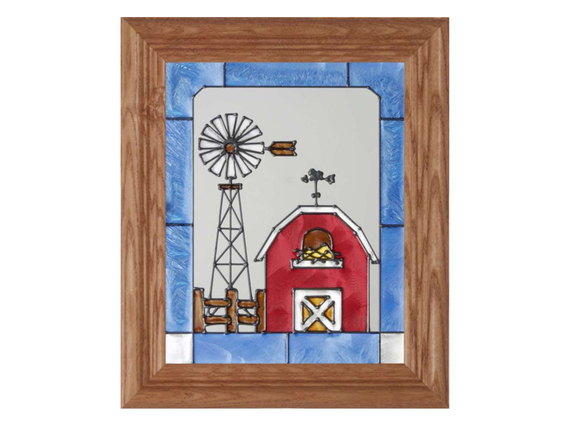 Texas Glass Art - Windmill and Red Barn