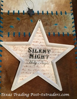 Texas Lone Star Christmas Ornament - Silent Night - White