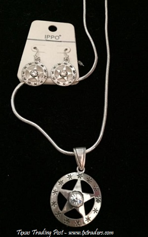 Texas Lone Star Necklace and Earrings