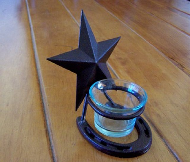 Votive Holder w/Texas Lone Star & Pony Shoe