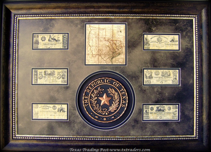 Wall Decor For Law Office : Framed republic of texas seal and money