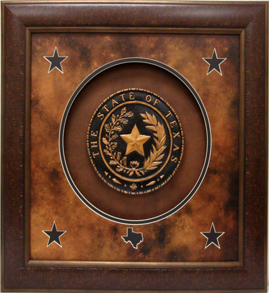 "Framed Replica of the Texas State Seal - 31"" x 31"""